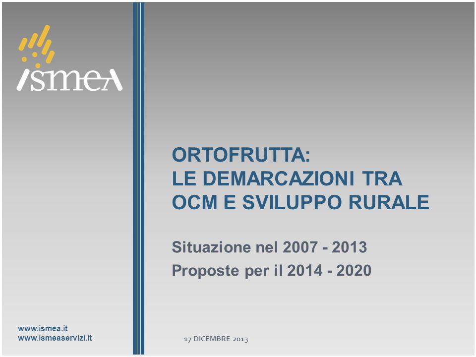 www.ismea.it www.ismeaservizi.it ORTOFRUTTA: LE DEMARCAZIONI TRA OCM E SVILUPPO RURALE Situazione nel 2007 - 2013 Proposte per il 2014 - 2020 17 DICEMBRE 2013