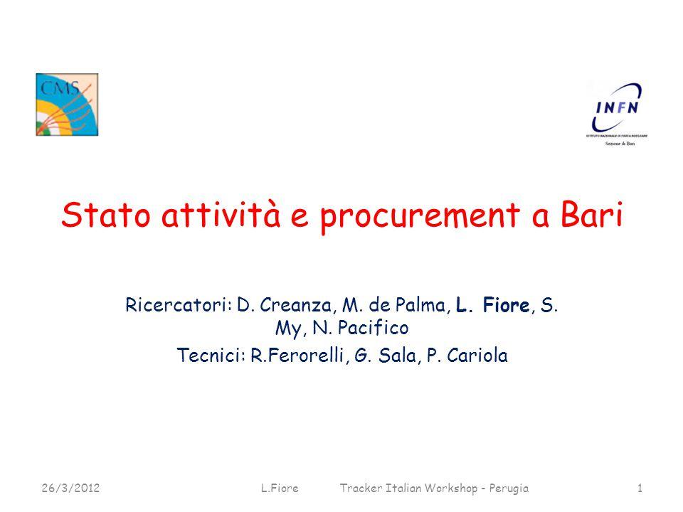 Stato attività e procurement a Bari Ricercatori: D.