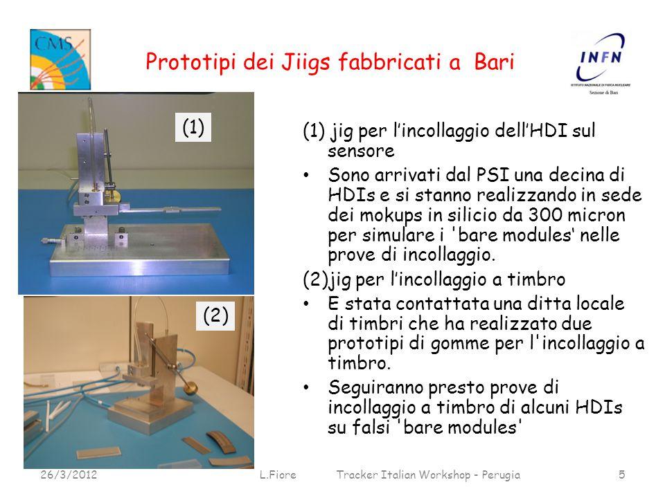 Prototipi dei Jiigs fabbricati a Bari 26/3/2012L.Fiore Tracker Italian Workshop - Perugia5 (1) (1) jig per l'incollaggio dell'HDI sul sensore Sono arrivati dal PSI una decina di HDIs e si stanno realizzando in sede dei mokups in silicio da 300 micron per simulare i bare modules' nelle prove di incollaggio.