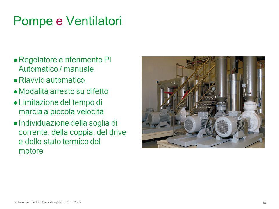 Schneider Electric 10 - Marketing VSD – April 2009 Pompe e Ventilatori ●Regolatore e riferimento PI Automatico / manuale ●Riavvio automatico ●Modalità