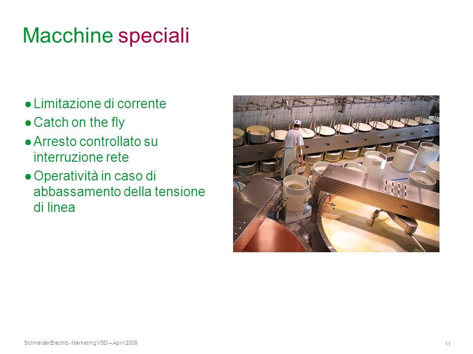 Schneider Electric 11 - Marketing VSD – April 2009 Macchine speciali ●Limitazione di corrente ●Catch on the fly ●Arresto controllato su interruzione r