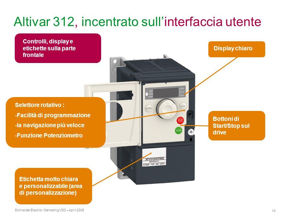 Schneider Electric 14 - Marketing VSD – April 2009 Altivar 312, incentrato sull'interfaccia utente Display chiaro Selettore rotativo : -Facilità di pr
