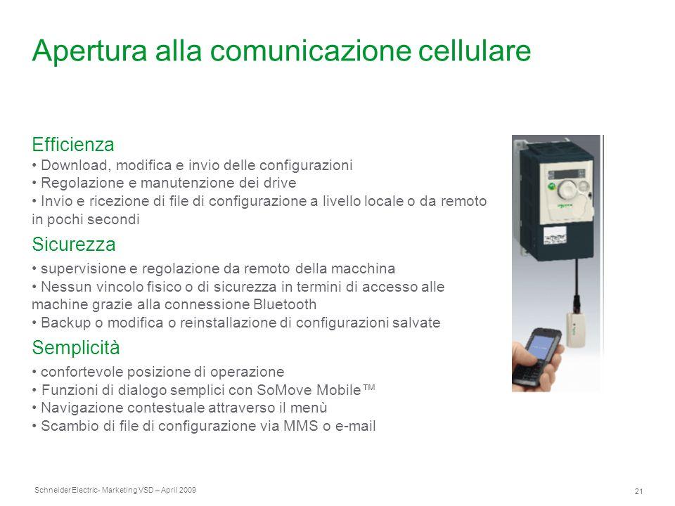 Schneider Electric 21 - Marketing VSD – April 2009 Apertura alla comunicazione cellulare Efficienza Download, modifica e invio delle configurazioni Re