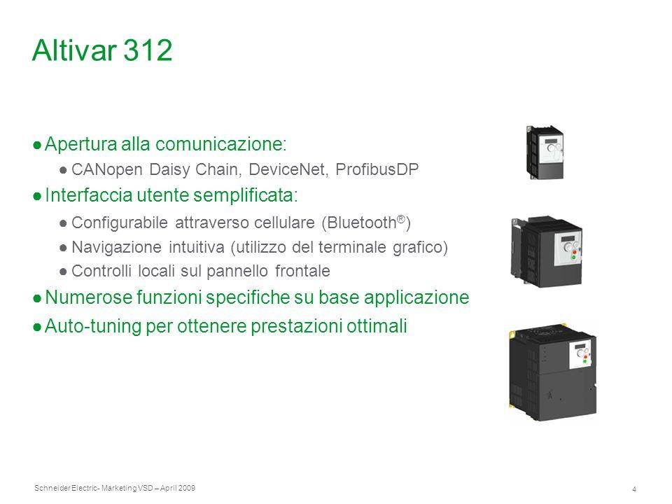 Schneider Electric 4 - Marketing VSD – April 2009 Altivar 312 ●Apertura alla comunicazione: ●CANopen Daisy Chain, DeviceNet, ProfibusDP ●Interfaccia u
