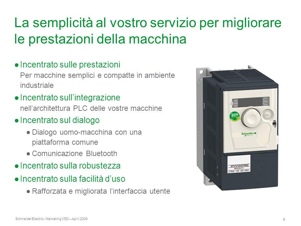 Schneider Electric 5 - Marketing VSD – April 2009 La semplicità al vostro servizio per migliorare le prestazioni della macchina ●Incentrato sulle pres