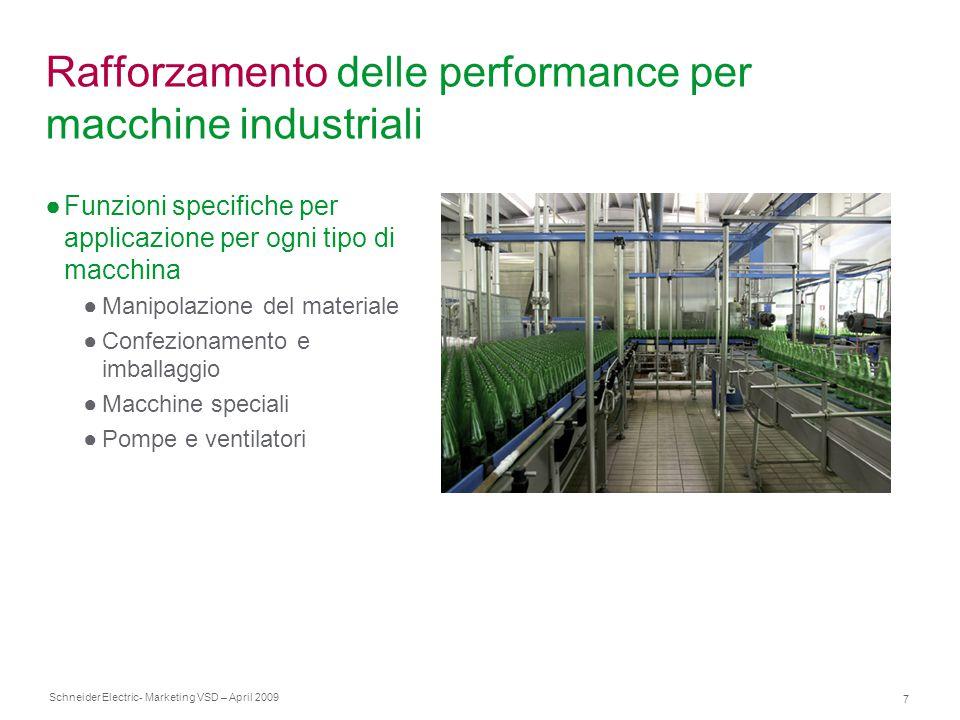 Schneider Electric 7 - Marketing VSD – April 2009 Rafforzamento delle performance per macchine industriali ●Funzioni specifiche per applicazione per o