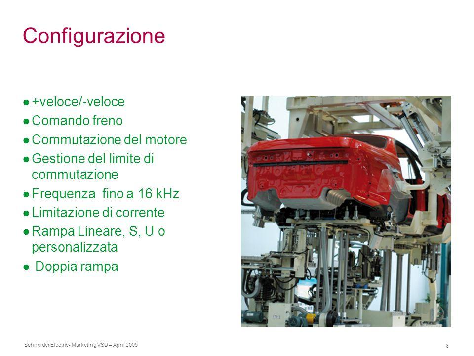 Schneider Electric 8 - Marketing VSD – April 2009 Configurazione ●+veloce/-veloce ●Comando freno ●Commutazione del motore ●Gestione del limite di comm