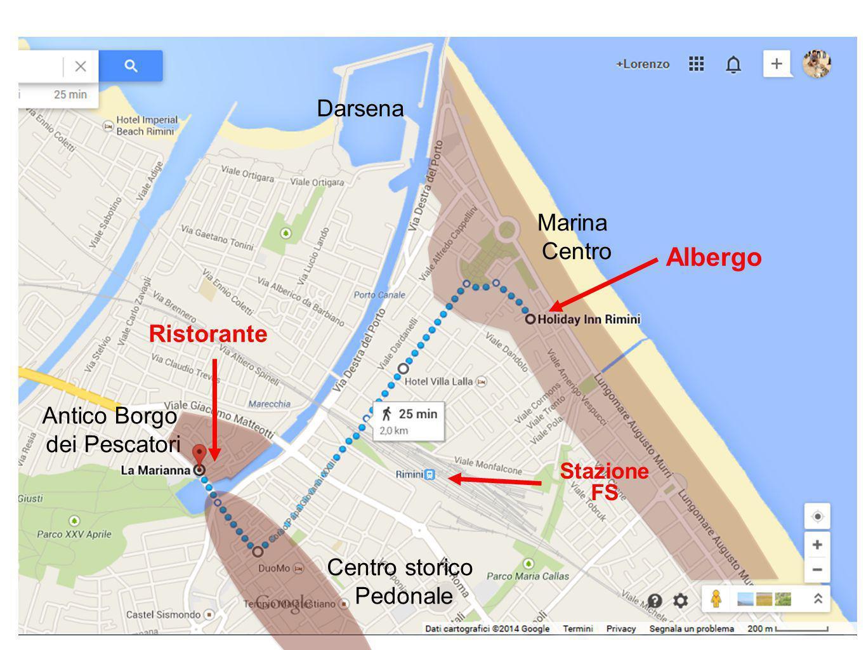 Centro storico Pedonale Marina Centro Darsena Antico Borgo dei Pescatori Stazione FS Albergo Ristorante