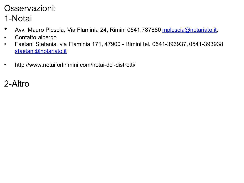 Osservazioni: 1-Notai Avv. Mauro Plescia, Via Flaminia 24, Rimini 0541.787880 mplescia@notariato.it;mplescia@notariato.it Contatto albergo Faetani Ste