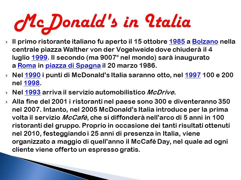  Nel 1937 i fratelli Richard e Maurice McDonald, aprirono ad Arcadia, inCalifornia, un chiosco di hot dog. Il primo ristorante denominato McDonald's