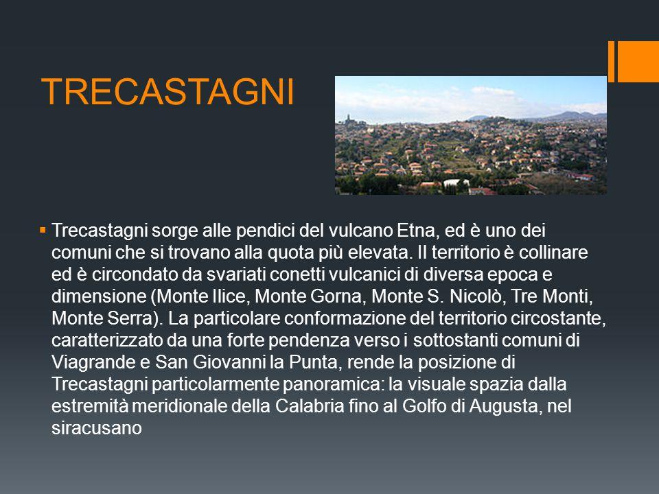 TRECASTAGNI  Trecastagni sorge alle pendici del vulcano Etna, ed è uno dei comuni che si trovano alla quota più elevata. Il territorio è collinare ed