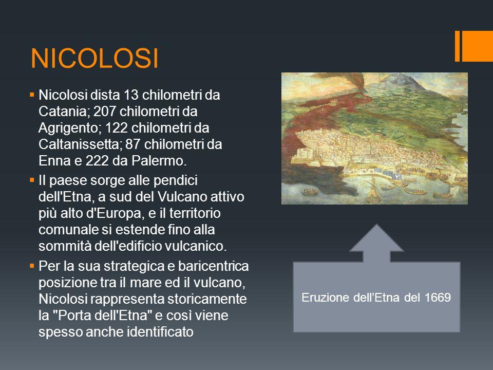 NICOLOSI  Nicolosi dista 13 chilometri da Catania; 207 chilometri da Agrigento; 122 chilometri da Caltanissetta; 87 chilometri da Enna e 222 da Paler