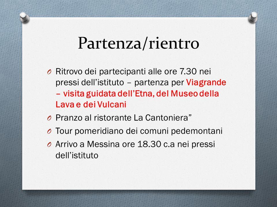 Partenza/rientro O Ritrovo dei partecipanti alle ore 7.30 nei pressi dell'istituto – partenza per Viagrande – visita guidata dell'Etna, del Museo dell