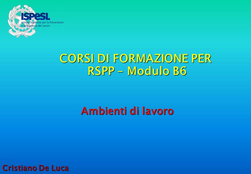 CORSI DI FORMAZIONE PER RSPP – Modulo B6 Ambienti di lavoro Cristiano De Luca