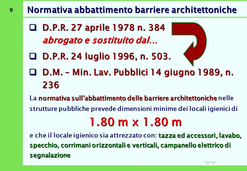 9 Normativa abbattimento barriere architettoniche  D.P.R. 27 aprile 1978 n. 384 abrogato e sostituito dal…  D.P.R. 24 luglio 1996, n. 503.  D.M. –