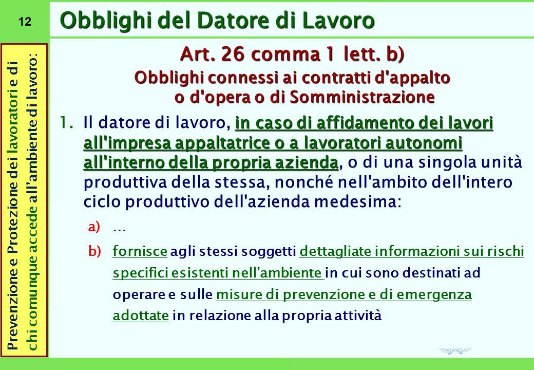 12 Obblighi del Datore di Lavoro Art. 26 comma 1 lett. b) Obblighi connessi ai contratti d'appalto o d'opera o di Somministrazione in caso di affidame