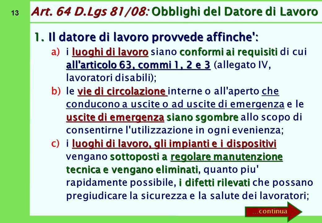 13 Art. 64 D.Lgs 81/08: Obblighi del Datore di Lavoro 1.Il datore di lavoro provvede affinche': a)luoghi di lavoroconformi ai requisiti all'articolo 6