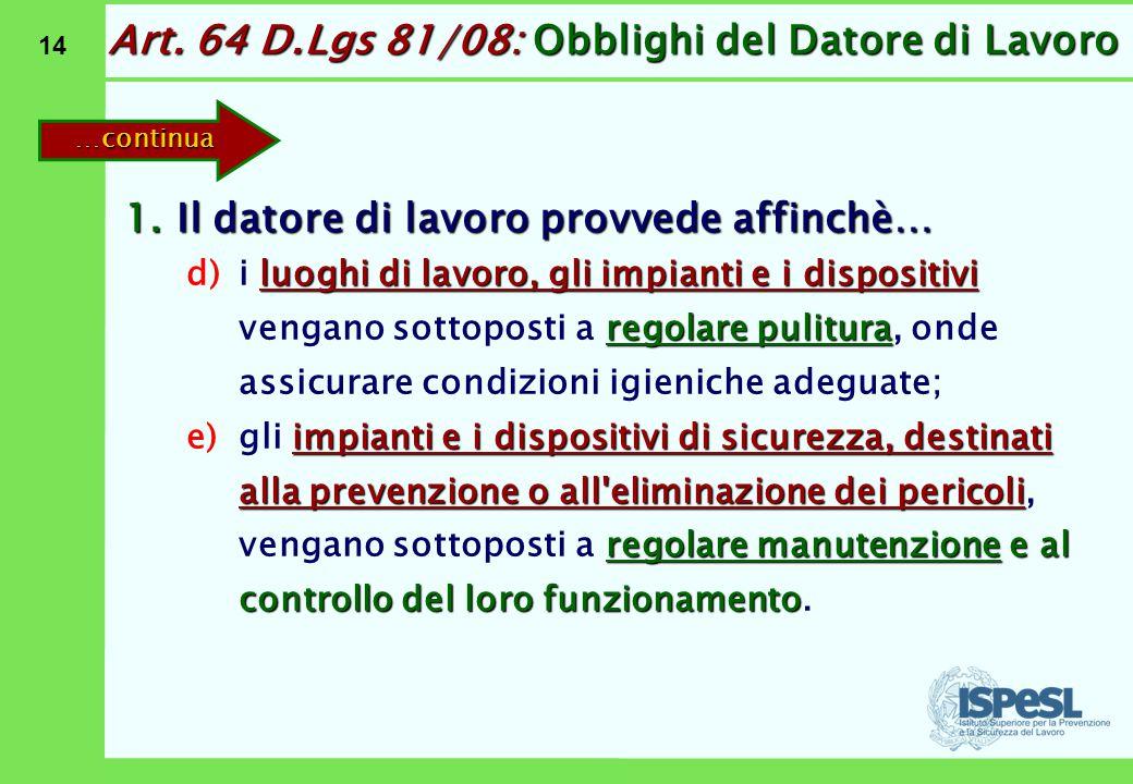 14 Art. 64 D.Lgs 81/08: Obblighi del Datore di Lavoro 1.Il datore di lavoro provvede affinchè… d)luoghi di lavoro, gli impianti e i dispositivi regola