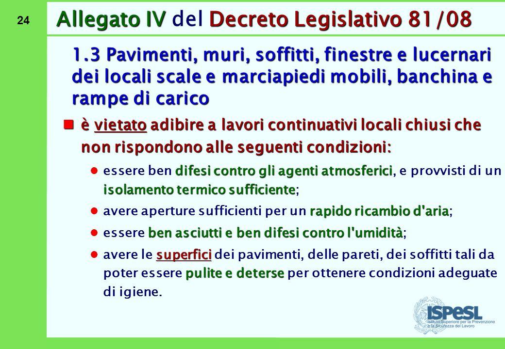 24 Allegato IVDecreto Legislativo 81/08 Allegato IV del Decreto Legislativo 81/08 1.3 Pavimenti, muri, soffitti, finestre e lucernari dei locali scale