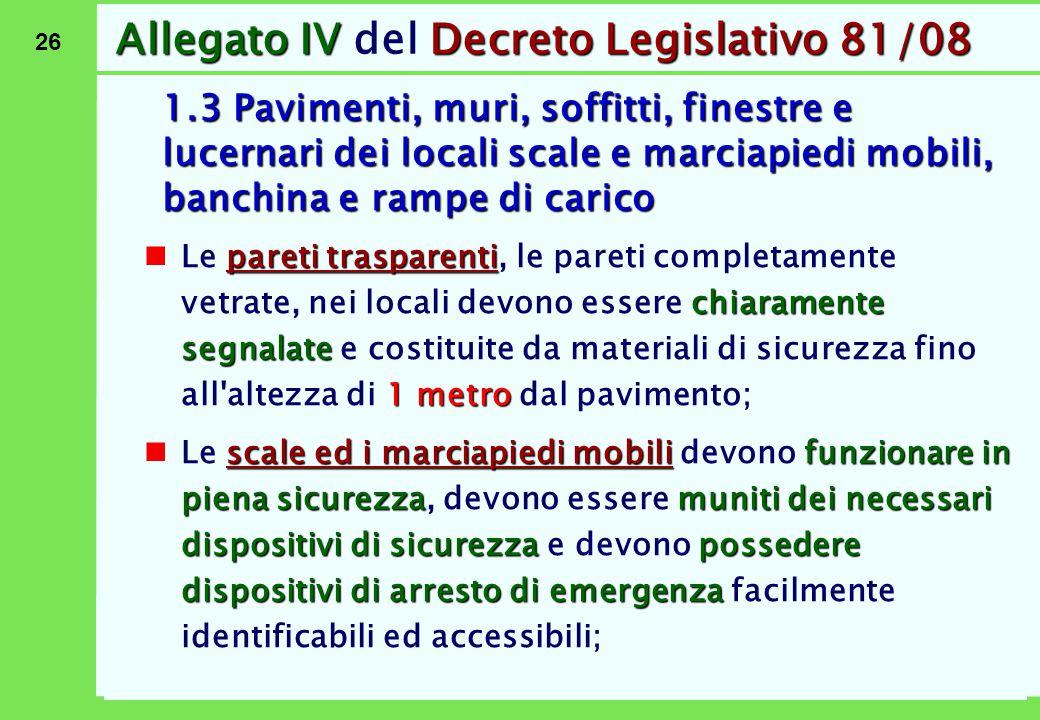 26 Allegato IVDecreto Legislativo 81/08 Allegato IV del Decreto Legislativo 81/08 1.3 Pavimenti, muri, soffitti, finestre e lucernari dei locali scale