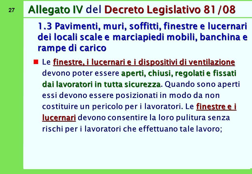 27 Allegato IVDecreto Legislativo 81/08 Allegato IV del Decreto Legislativo 81/08 1.3 Pavimenti, muri, soffitti, finestre e lucernari dei locali scale