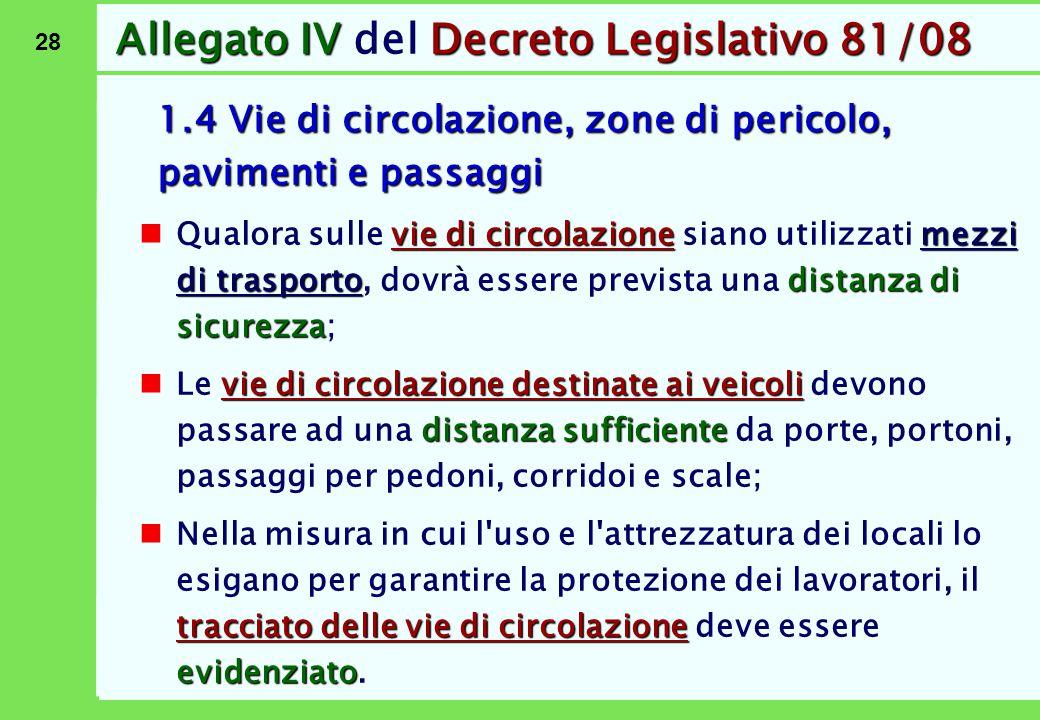 28 Allegato IVDecreto Legislativo 81/08 Allegato IV del Decreto Legislativo 81/08 1.4 Vie di circolazione, zone di pericolo, pavimenti e passaggi vie