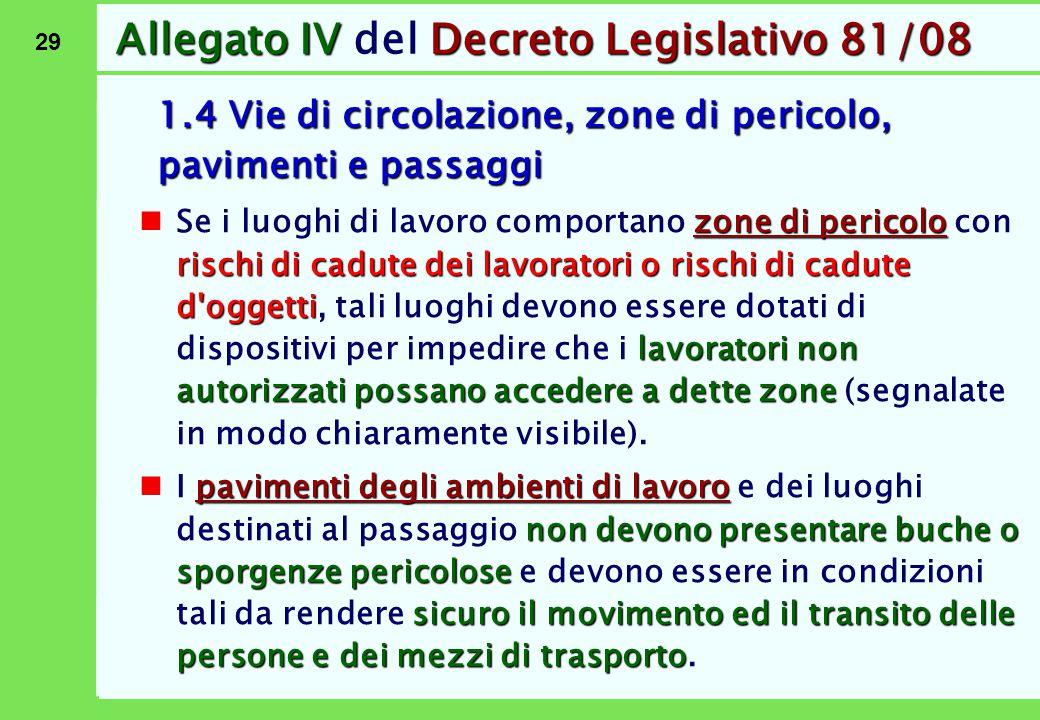 29 Allegato IVDecreto Legislativo 81/08 Allegato IV del Decreto Legislativo 81/08 1.4 Vie di circolazione, zone di pericolo, pavimenti e passaggi zone