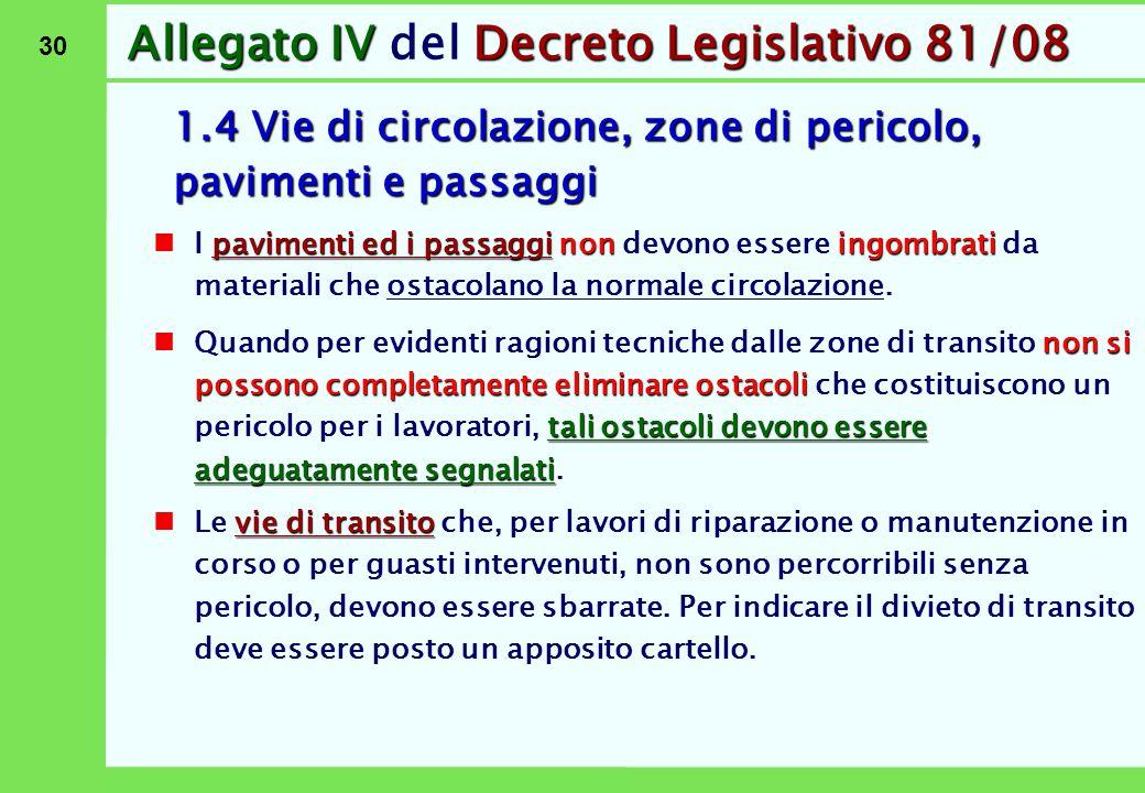 30 Allegato IVDecreto Legislativo 81/08 Allegato IV del Decreto Legislativo 81/08 1.4 Vie di circolazione, zone di pericolo, pavimenti e passaggi pavi