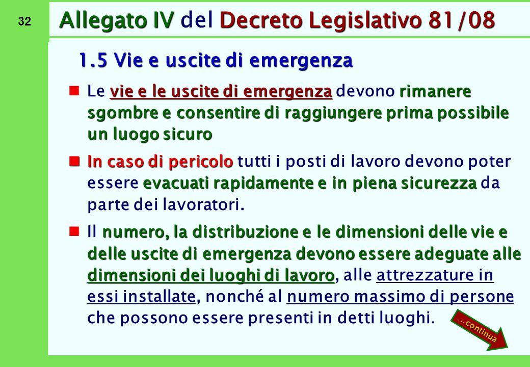 32 Allegato IVDecreto Legislativo 81/08 Allegato IV del Decreto Legislativo 81/08 1.5 Vie e uscite di emergenza vie e le uscite di emergenzarimanere s