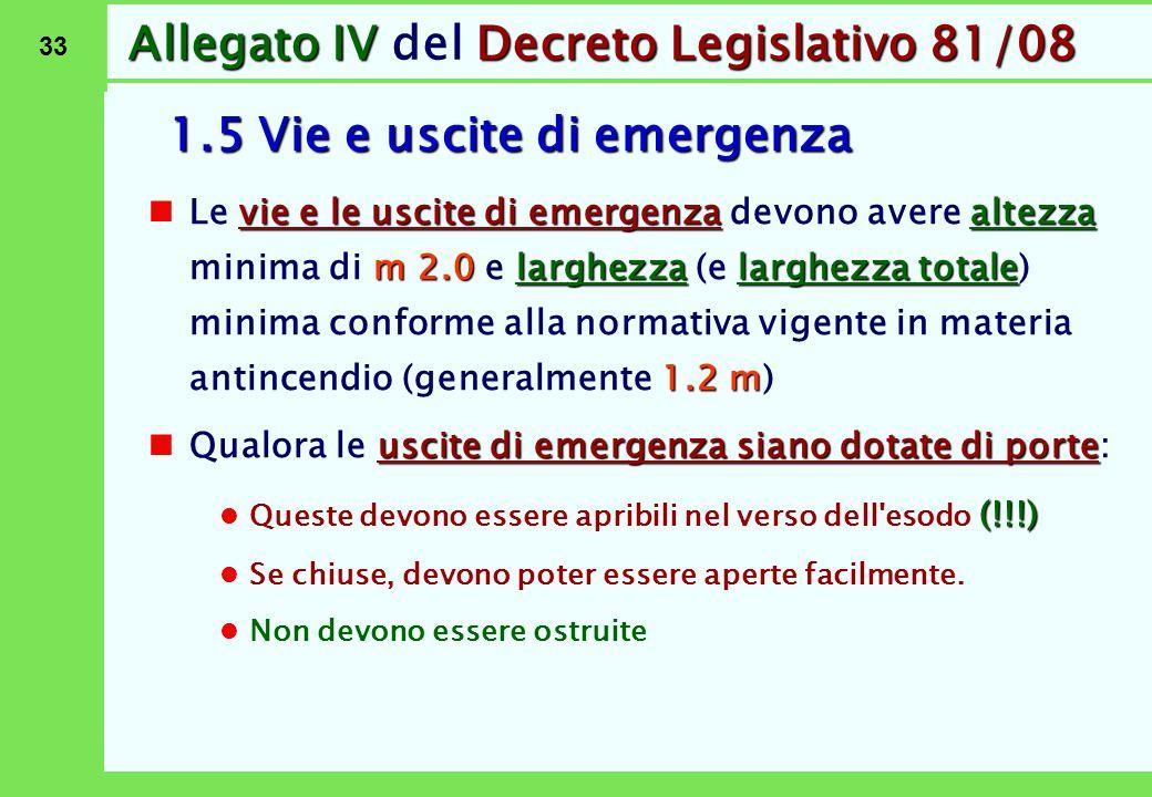 33 Allegato IVDecreto Legislativo 81/08 Allegato IV del Decreto Legislativo 81/08 1.5 Vie e uscite di emergenza vie e le uscite di emergenzaaltezza m