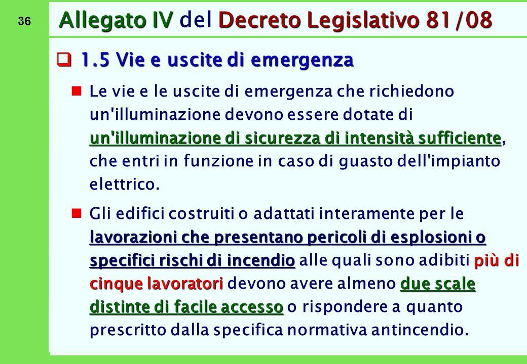 36 Allegato IVDecreto Legislativo 81/08 Allegato IV del Decreto Legislativo 81/08  1.5 Vie e uscite di emergenza un'illuminazione di sicurezza di int