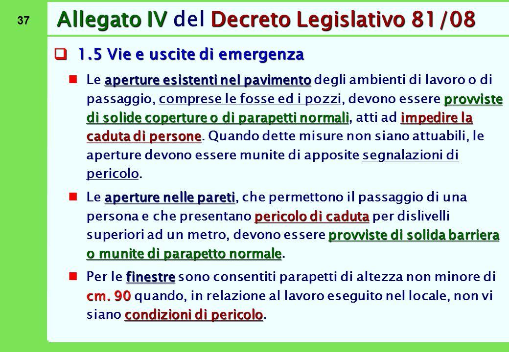 37 Allegato IVDecreto Legislativo 81/08 Allegato IV del Decreto Legislativo 81/08  1.5 Vie e uscite di emergenza aperture esistenti nel pavimento pro