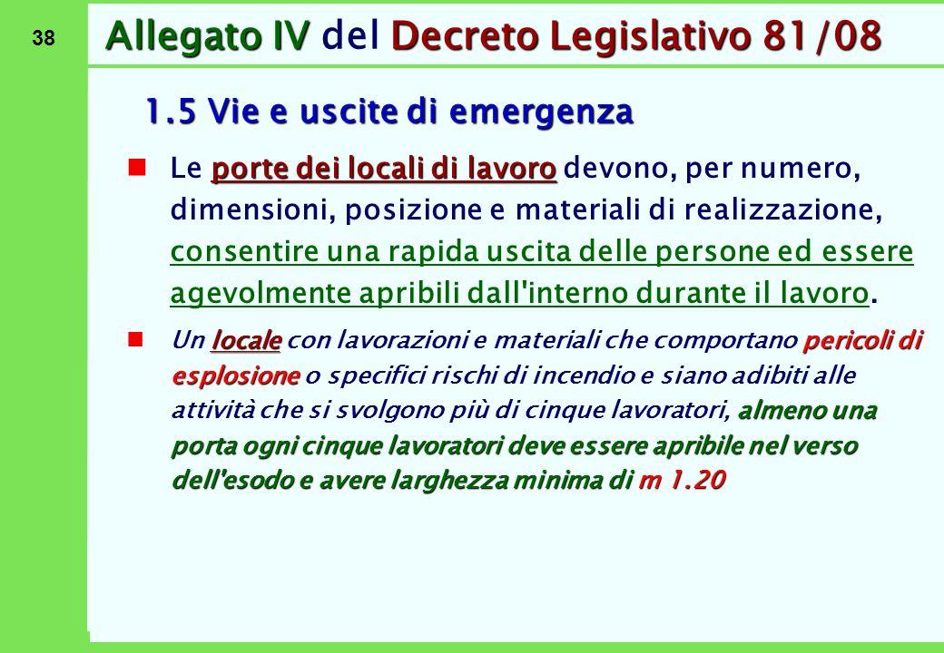 38 Allegato IVDecreto Legislativo 81/08 Allegato IV del Decreto Legislativo 81/08 1.5 Vie e uscite di emergenza porte dei locali di lavoro Le porte de