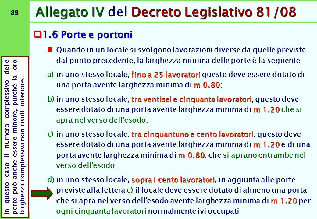 39 Allegato IVDecreto Legislativo 81/08 Allegato IV del Decreto Legislativo 81/08  1.6 Porte e portoni Quando in un locale si svolgono lavorazioni di