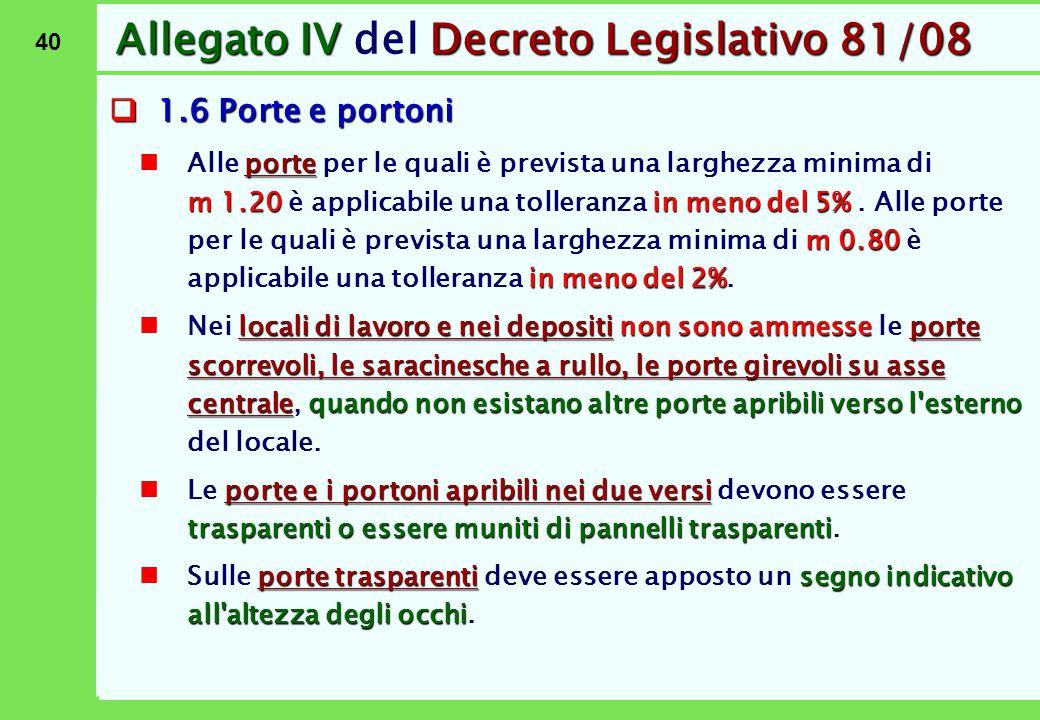 40 Allegato IVDecreto Legislativo 81/08 Allegato IV del Decreto Legislativo 81/08  1.6 Porte e portoni porte m 1.20in meno del 5% m 0.80 in meno del