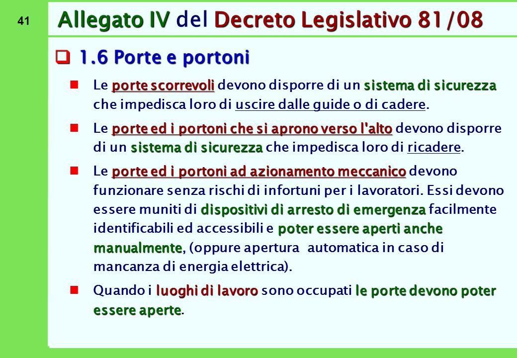 41 Allegato IVDecreto Legislativo 81/08 Allegato IV del Decreto Legislativo 81/08  1.6 Porte e portoni porte scorrevolisistema di sicurezza Le porte