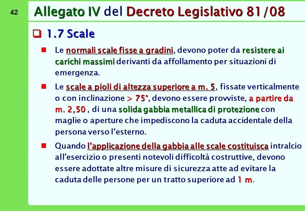 42 Allegato IVDecreto Legislativo 81/08 Allegato IV del Decreto Legislativo 81/08  1.7 Scale normali scale fisse a gradiniresistere ai carichi massim