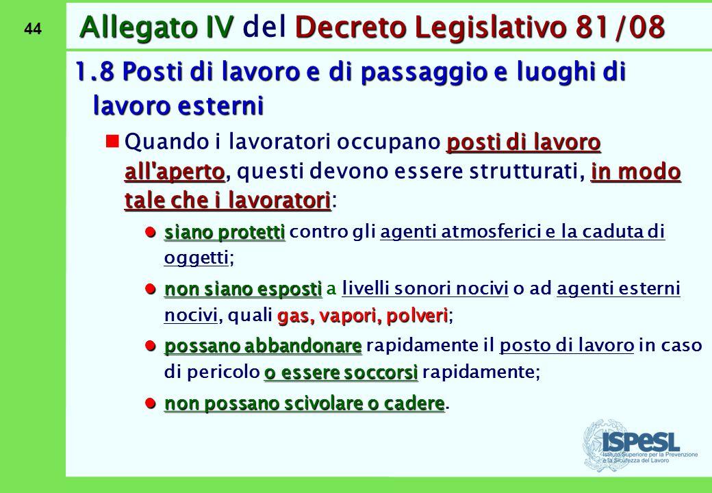 44 Allegato IVDecreto Legislativo 81/08 Allegato IV del Decreto Legislativo 81/08 1.8 Posti di lavoro e di passaggio e luoghi di lavoro esterni posti