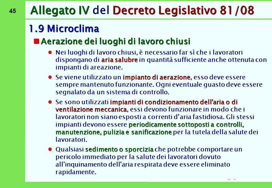 45 Allegato IVDecreto Legislativo 81/08 Allegato IV del Decreto Legislativo 81/08 1.9 Microclima Aerazione dei luoghi di lavoro chiusi Aerazione dei l
