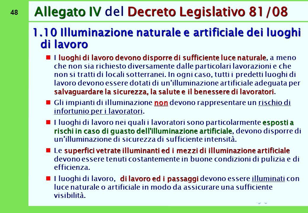 48 Allegato IVDecreto Legislativo 81/08 Allegato IV del Decreto Legislativo 81/08 1.10 Illuminazione naturale e artificiale dei luoghi di lavoro luogh