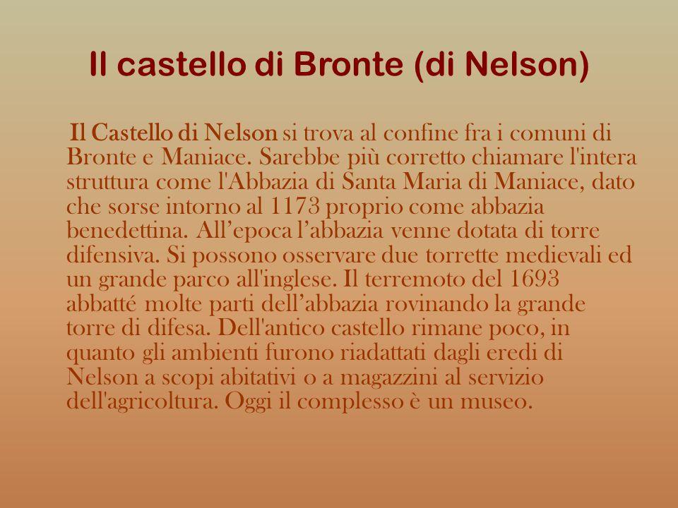 Il castello di Bronte (di Nelson) Il Castello di Nelson si trova al confine fra i comuni di Bronte e Maniace. Sarebbe più corretto chiamare l'intera s
