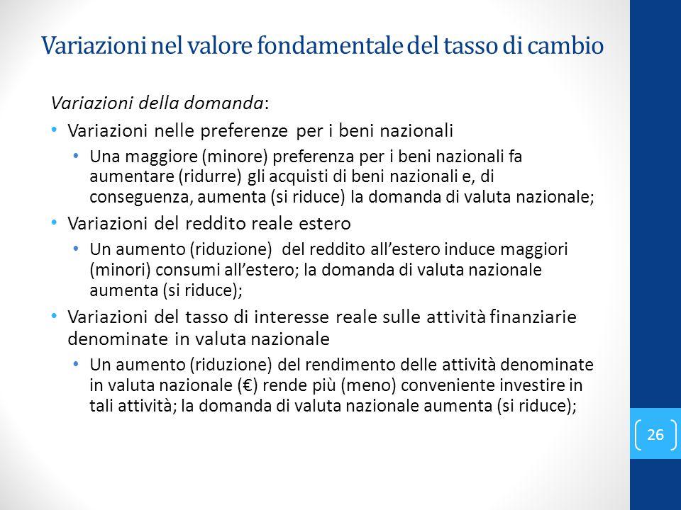 Variazioni della domanda: Variazioni nelle preferenze per i beni nazionali Una maggiore (minore) preferenza per i beni nazionali fa aumentare (ridurre