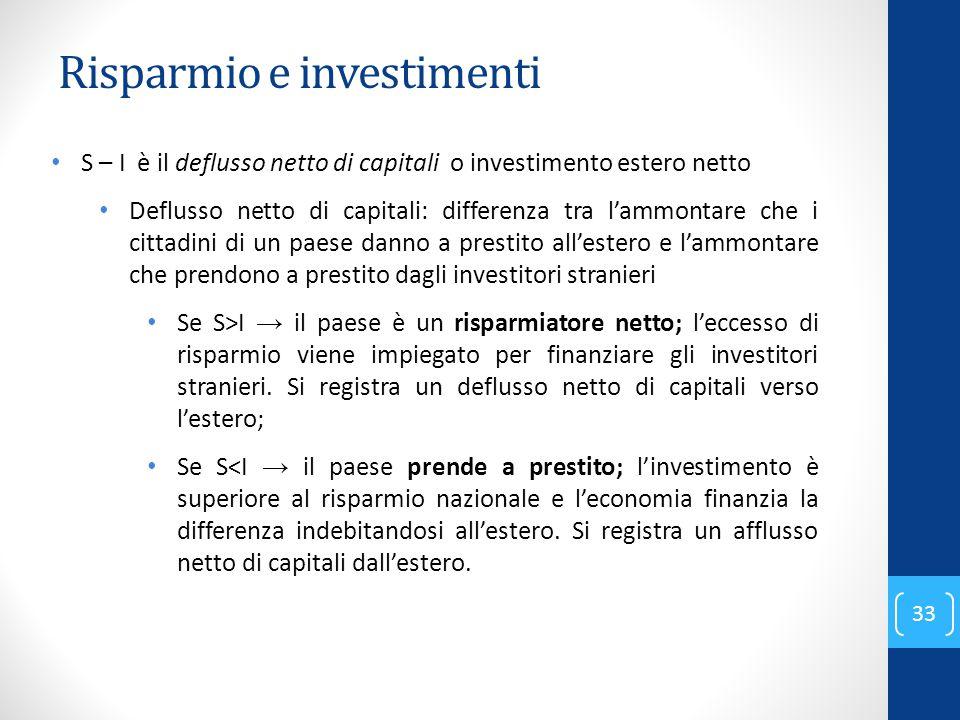 Risparmio e investimenti 33 S – I è il deflusso netto di capitali o investimento estero netto Deflusso netto di capitali: differenza tra l'ammontare c