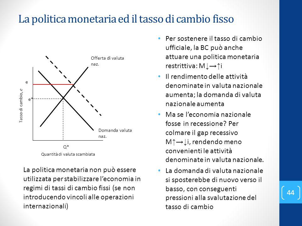 La politica monetaria ed il tasso di cambio fisso Per sostenere il tasso di cambio ufficiale, la BC può anche attuare una politica monetaria restritti