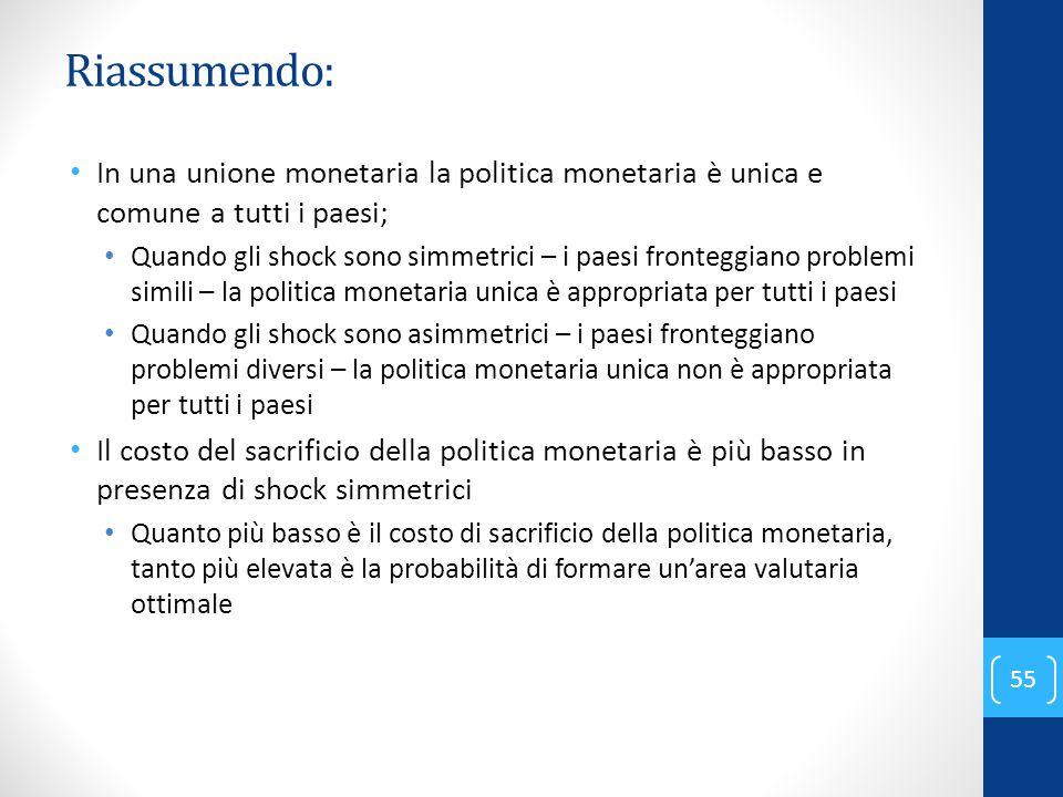 Riassumendo: In una unione monetaria la politica monetaria è unica e comune a tutti i paesi; Quando gli shock sono simmetrici – i paesi fronteggiano p