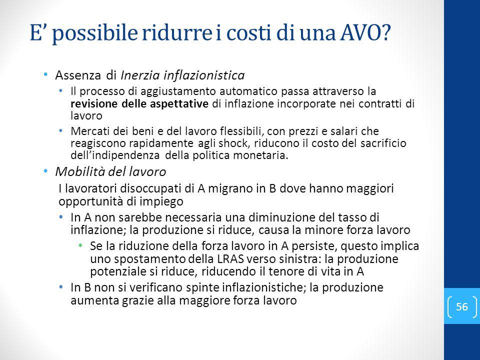 E' possibile ridurre i costi di una AVO? Assenza di Inerzia inflazionistica Il processo di aggiustamento automatico passa attraverso la revisione dell