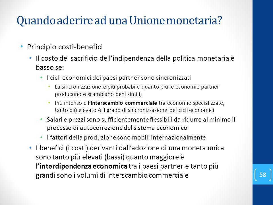 Quando aderire ad una Unione monetaria? Principio costi-benefici Il costo del sacrificio dell'indipendenza della politica monetaria è basso se: I cicl