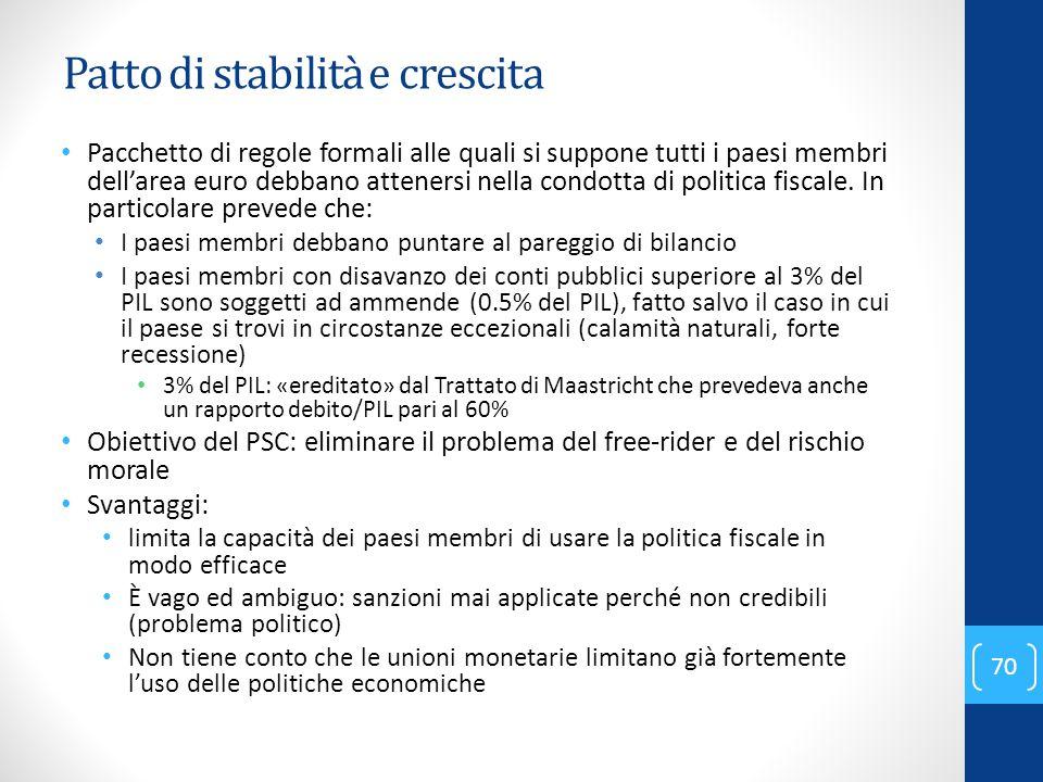 Patto di stabilità e crescita Pacchetto di regole formali alle quali si suppone tutti i paesi membri dell'area euro debbano attenersi nella condotta d