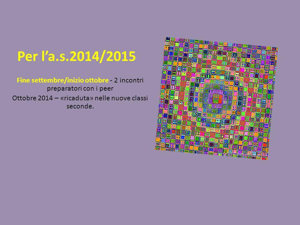 Per l'a.s.2014/2015 Fine settembre/inizio ottobre - 2 incontri preparatori con i peer Ottobre 2014 – «ricaduta» nelle nuove classi seconde.