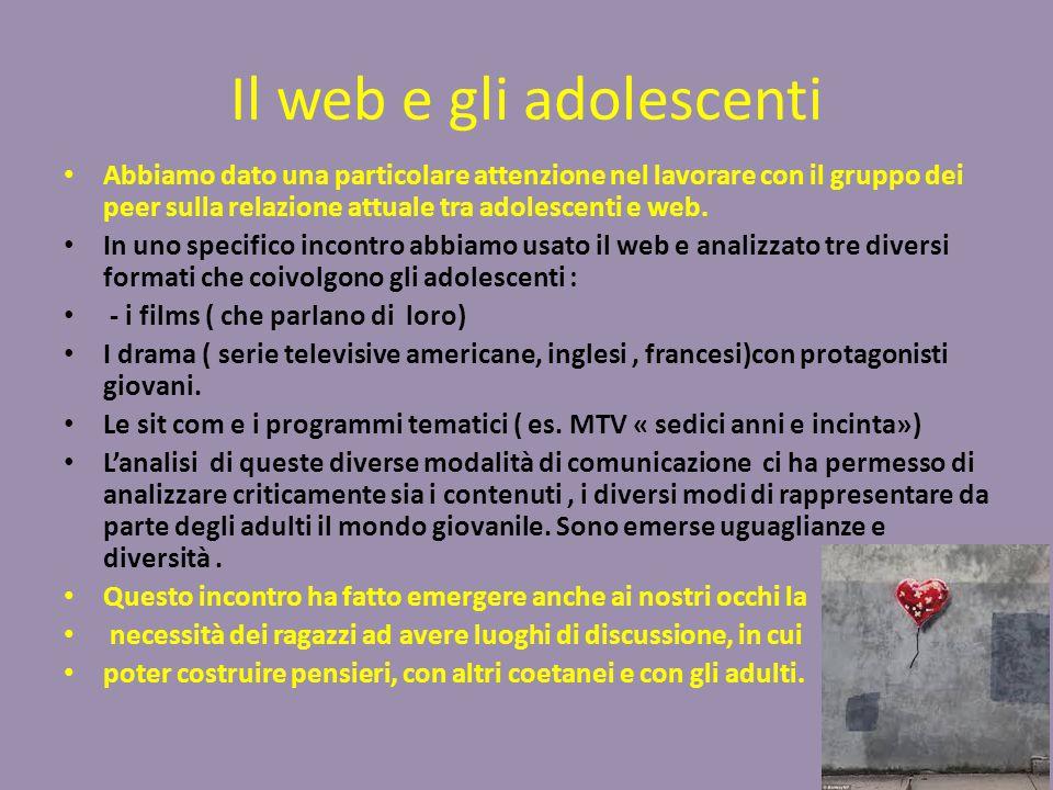 Il web e gli adolescenti Abbiamo dato una particolare attenzione nel lavorare con il gruppo dei peer sulla relazione attuale tra adolescenti e web.